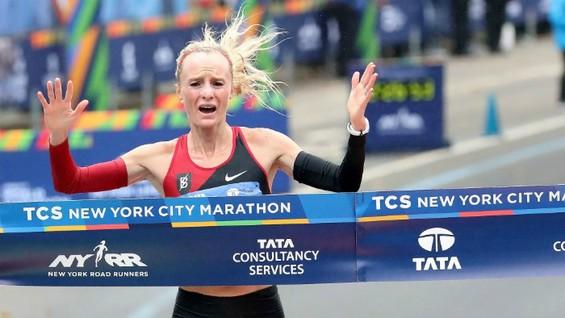 Flanagan đã nghẹn ngào sau khi giành chiến thắng ở giải New York City Marathon 2017.