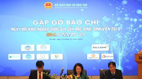 The National Student Entrepreneurship Festival 2018 will take place in Hanoi on December 16, said the press conference (Source: vtv.vn)