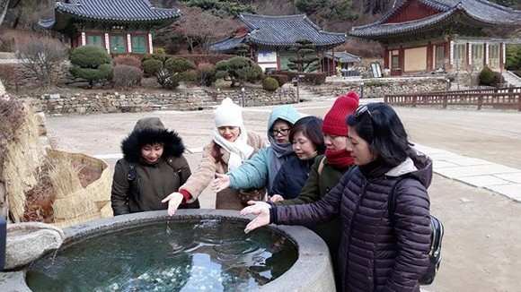 Vietnamese tourists visit Jeondeungsa Temple, Incheon, South Korea.