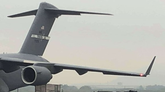 C-17 Globemaster transport aircraft carrying the Cadillac One of United States President Donald Trump landed in Noi Bai International Airport