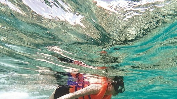 Tourists experience diving and seeing coral at Dam Trau beach.