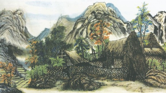 山區人家(北方)  何麗華 畫