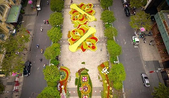 Nguyen Hue Flower Street seen from above
