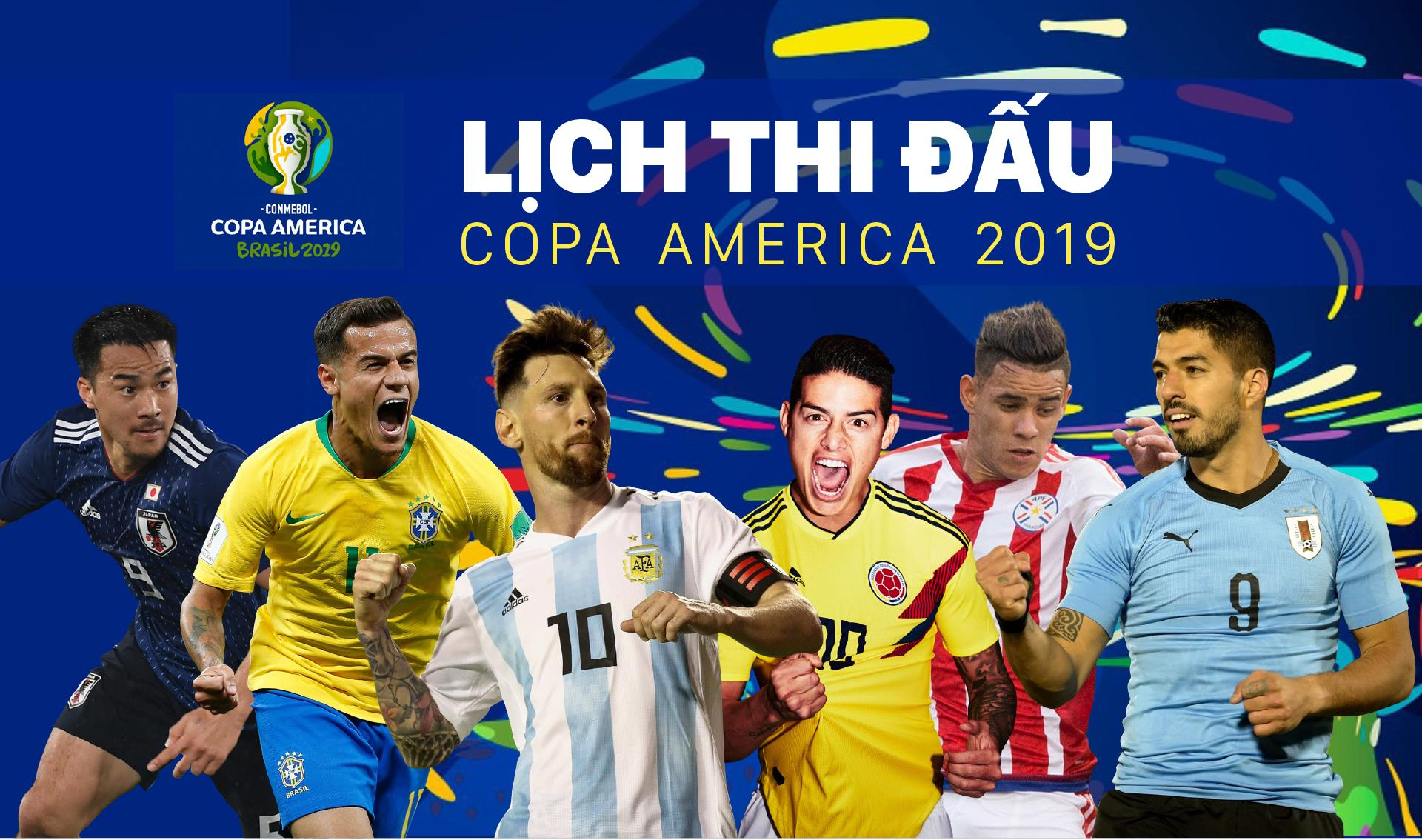 Lịch thi đấu bóng đá Copa America 2019