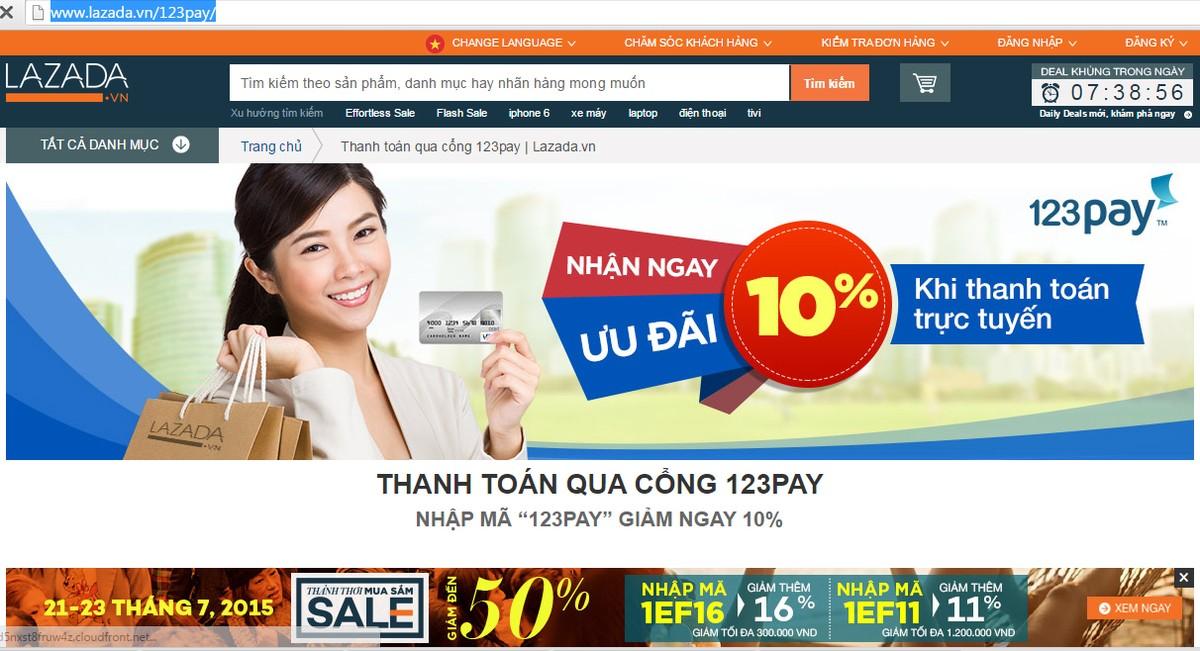 """Bà Trương Cẩm Thanh, Giám đốc điều hành 123Pay cho biết: """"Chương trình hợp  tác giữa 123Pay và Lazada, tận dụng các ưu thế của cả 2 bên, sẽ giúp các  doanh ..."""