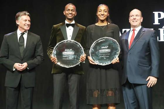 2 VĐV Mutaz Essa Barshim (nam) và Nafissatou Thiam (nữ) được vinh danh tại Monaco.