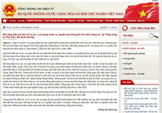 Mở rộng điều tra vụ án tại Tổng công ty Thái Sơn, Bộ Quốc phòng ảnh 1