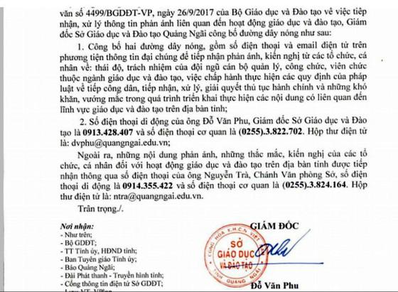 Sở GD-ĐT tỉnh Quảng Ngãi công bố đường dây nóng giải quyết vướng mắc giáo dục ảnh 1