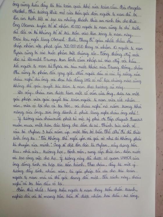 Lá thư của HS Việt gửi Tổng Thư ký LHQ về người tị nạn ảnh 2