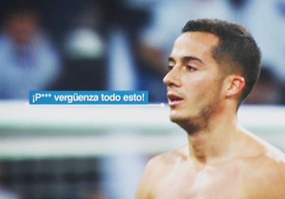 Hình ảnh phân tích khẩu hình cho thấy Vazquez chửi tục vì trận thua của Real.
