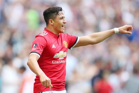Alexis Sanchez mừng bàn thắng gần nhất cho Man.United, và đó là ở Wembley. Ảnh: Getty Images