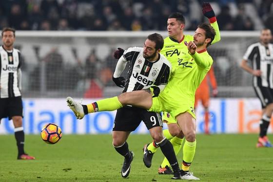 Gonzalo Higuain (trái, Juventus) tranh bóng với hậu vệ Bologna.