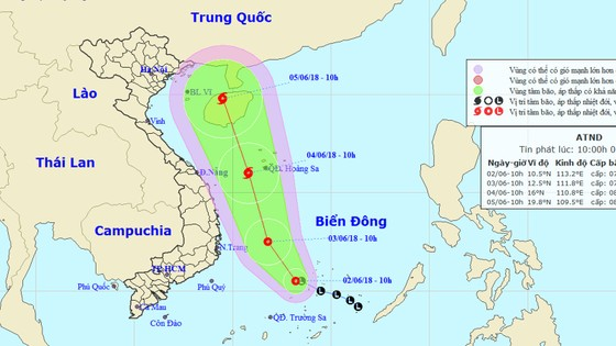 Vùng áp thấp trên khu vực quần đảo Trường Sa đã mạnh lên thành áp thấp nhiệt đới ảnh 1