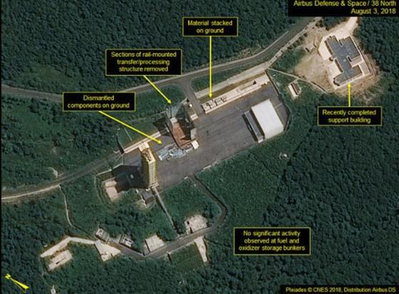 """38 North: Triều Tiên """"dường như"""" đã dừng tháo dỡ bãi thử nghiệm động cơ tên lửa Sohae ảnh 5"""