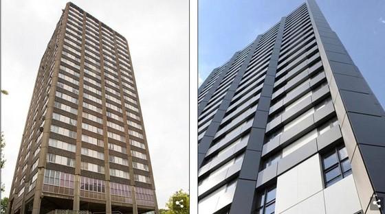 Tháp Grenfell trước và sau khi được làm đẹp. Ảnh: PA