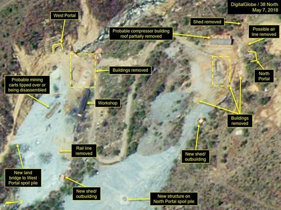 Hình ảnh chụp từ vệ tinh cho thấy Bình Nhưỡng bắt đầu tiến hành dỡ bỏ bãi thử hạt nhân Pyunggye-ri. Ảnh: 38 NORTH
