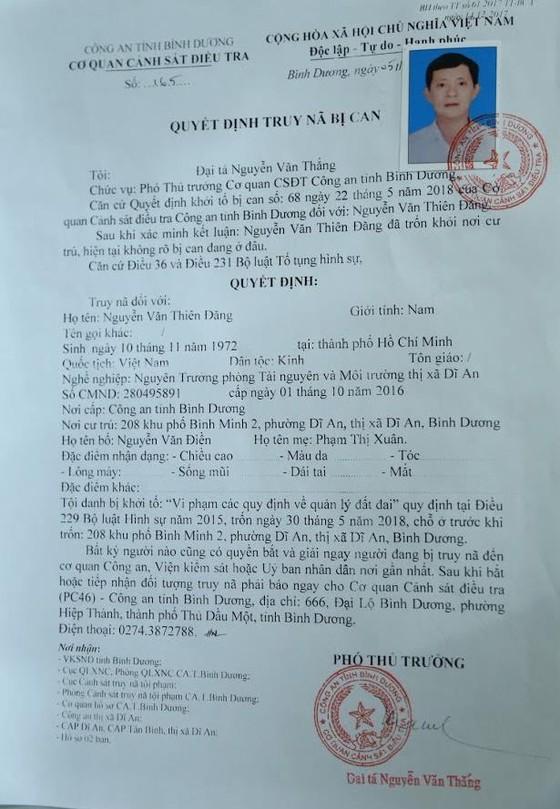 Truy nã nguyên Trưởng phòng Tài nguyên Môi Trường thị xã Dĩ An, tỉnh Bình Dương ảnh 1