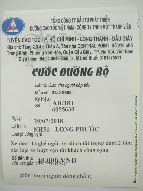 Xuất hiện tình trạng làm giả vé cước đường bộ cao tốc TPHCM - Long Thành - Dầu Giây ảnh 2