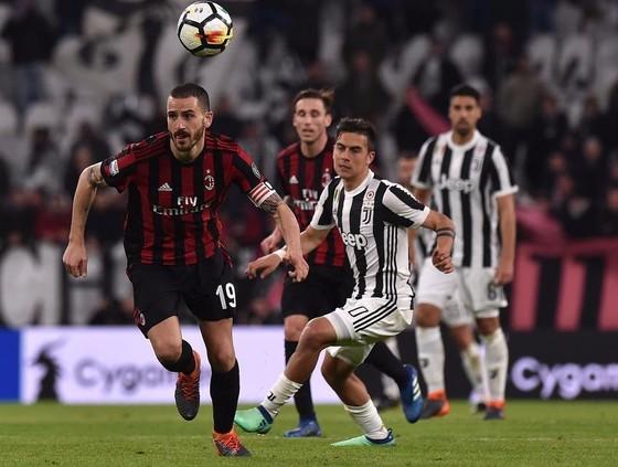 Leonardo Bonucci (trái, Milan) tranh bóng với Paulo Dybala (Juventus)