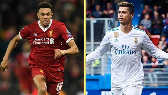 Trent Alexander-Arnold (Liverpool) và  Cristiano Ronaldo (Real Madrid)
