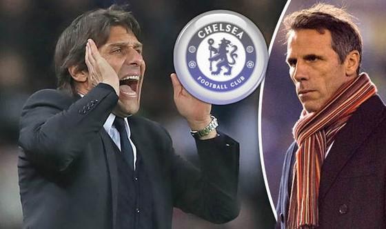 Báo chí Anh đồn rằng huyền tholại Zola sẽ đến tiếp quản Cjhelsea từ tay Antonio Conte (trái).