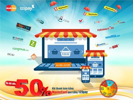 Đây cũng là chương trình kết hợp ưu đãi lớn nhất năm của 123Pay và  MasterCard trên kênh online.