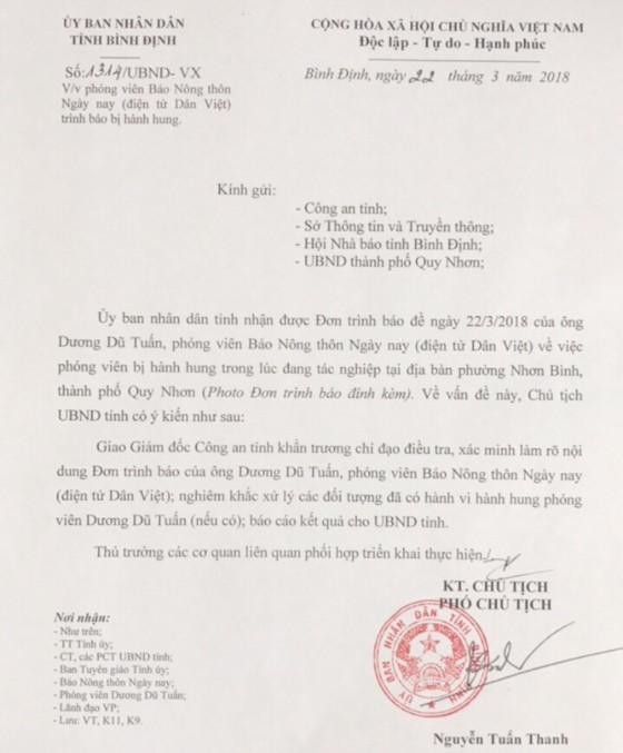 Điều tra, làm rõ việc PV Dương Dũ Tuấn bị côn đồ cầm dao dọa giết tại Bình Định ảnh 7