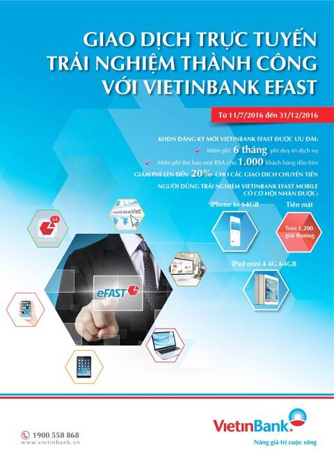 Nhận quà với dịch vụ VietinBank eFAST ảnh 2