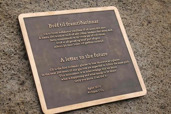 冰島立碑紀念消融的冰川 ảnh 1