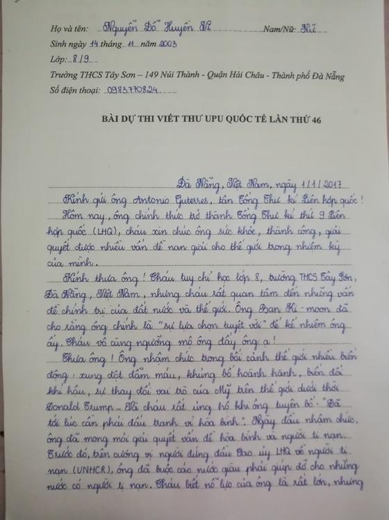 Lá thư của HS Việt gửi Tổng Thư ký LHQ về người tị nạn ảnh 1