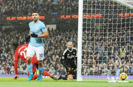 Sergio Aguero gần đây khá bình lặng khi ăn mừng bàn thắng. Ảnh: Getty Images