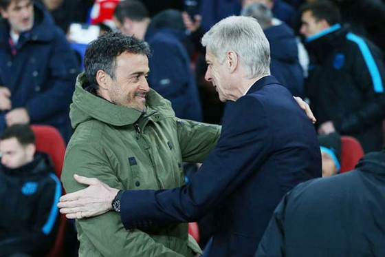 Arsene Wenger từng đối đầu Luis Enrique tại Champions League. Ảnh: Getty Images