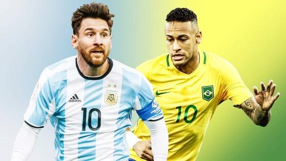 Messi và Neymar đã có hành động đẹp trước World Cup 2018. Ảnh Sky Sports.