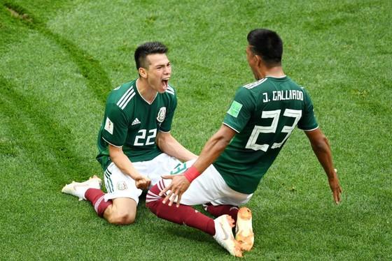 Hirving Lozano (trái) ăn mừng bàn thắng gây sốc đầu tiên của kỳ giải này. Ảnh: Getty Images