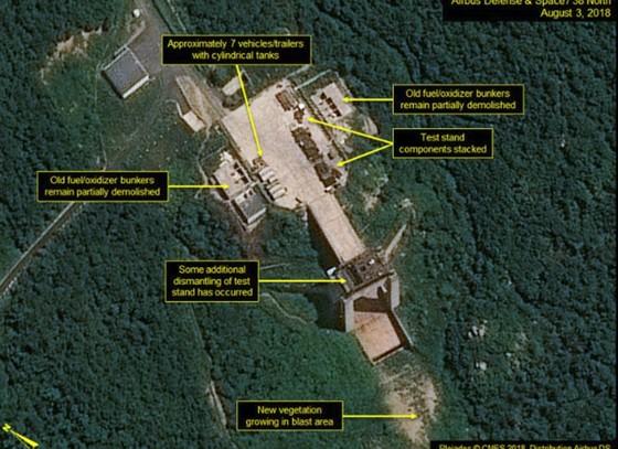 """38 North: Triều Tiên """"dường như"""" đã dừng tháo dỡ bãi thử nghiệm động cơ tên lửa Sohae ảnh 1"""