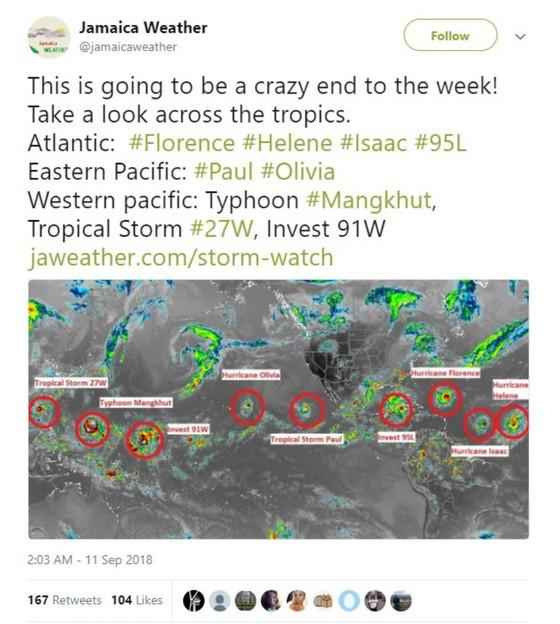 Siêu bão Florence là một trong chuỗi 9 cơn bão đang hoạt động trên thế giới ảnh 1