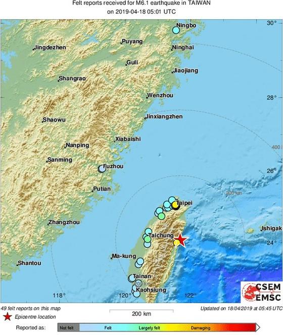 Nhiều tòa nhà bị rung lắc trong động đất mạnh 6,1 độ Richter tại Đài Loan (Trung Quốc) ảnh 2