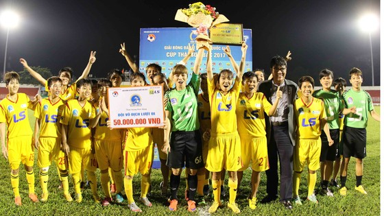 Các học trò HLV Kim Chi trong lần vô địch lượt đi vừa qua.