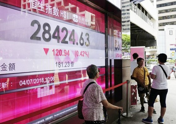 Thị trường chứng khoán châu Á đồng loạt giảm điểm do tranh chấp thương mại Mỹ - Trung Quốc