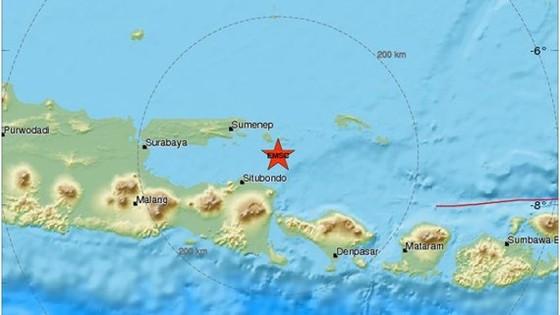 Tâm chấn của trận động đất ở khu vực biển Bali cách khoảng 40 km về phía Đông của đảo Java. Ảnh: EMSC
