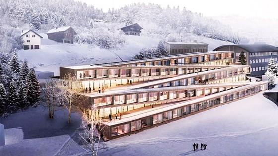 Trượt tuyết trên mái nhà khách sạn ảnh 1