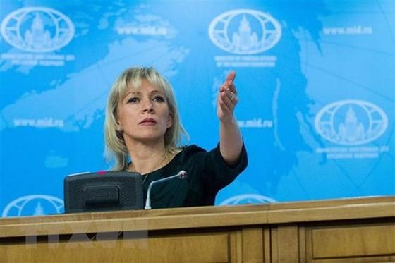 Người phát ngôn Bộ Ngoại giao Nga Maria Zakharova phát biểu trong cuộc họp báo tại Moskva. (Nguồn: THX/TTXVN)