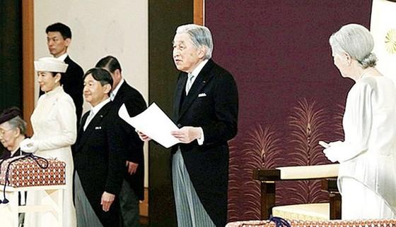 Nhật hoàng Akihito và Hoàng hậu Michiko trong nghi lễ thoái vị ngày 30-4