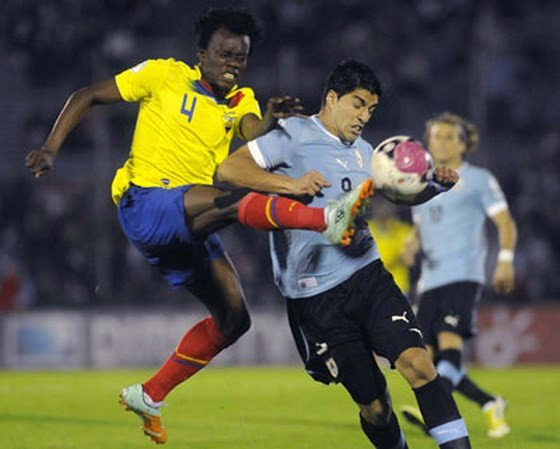 Luis Suarez rất có duyên ghi bàn vào lưới Ecuador.