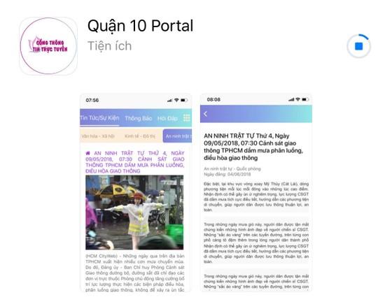 Quận 10 ra mắt Trang thông tin điện tử và ứng dụng xử lý vi phạm trật tự đô thị ảnh 2