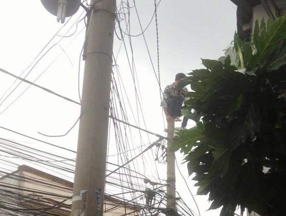 Giải cứu nam thanh niên nghi ngáo đá leo lên cột điện la hét ở quận Thủ Đức ảnh 2