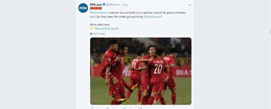 Tài khoản Twitter của FIFA công nhận thành tích của tuyển Việt Nam