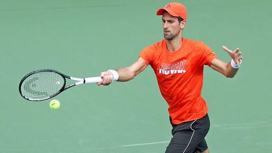 Novak Djokovic đang tập luyện ở Indian Wells Tennis Garden