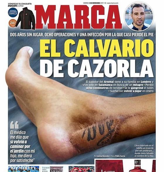 Tờ Marca dành trọn trang nhất số ngày mai để giới thiệu chấn thương cua Cazorla. Ảnh Dailymail.