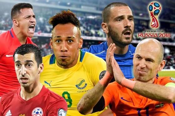 (Từ trái qua) Leonardo Bonucci, Aubameyang, Alexis Sanchez, (hàng dưới) Mkhitaryan, Arjen Robben. Ảnh: ANSA